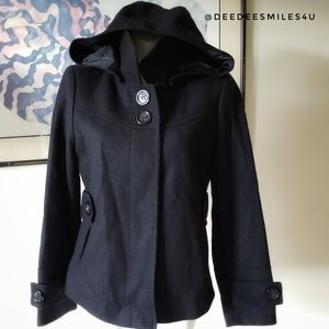 NWT Route 66 Black Coat Large with Detachable Hood